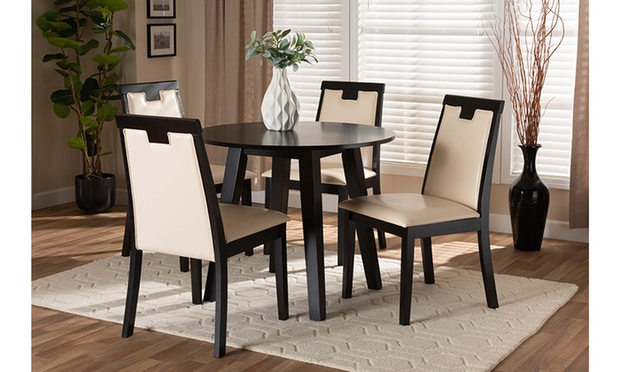Ryan Faux Leather And Wood 5 Piece Dining Set Groupon