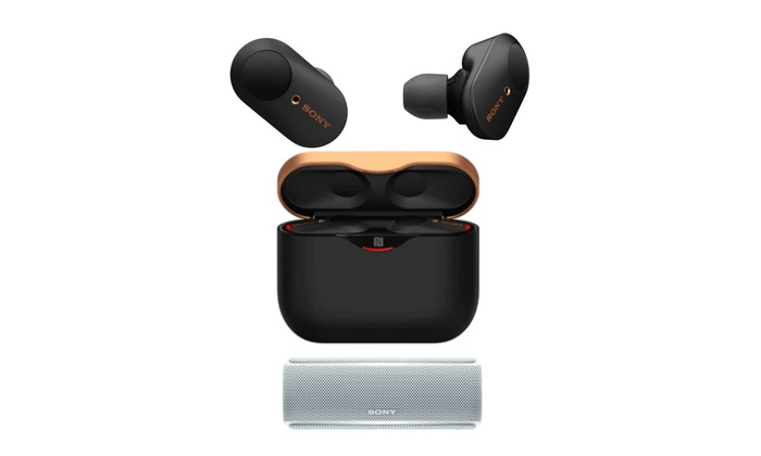 Sony WF-1000XM3 True Wireless Noise-Canceling Earbuds (Black) and Speaker |  Groupon