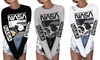 Women Street Fashion NASA Graphic Crew Neck Long Sleeve Pullover Tunic