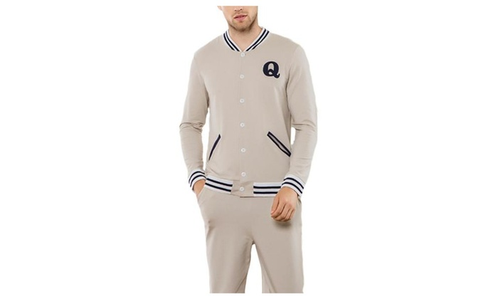 Men's Buttons Up Regular Fit Long Sleeve Solid Pajamas Set