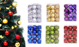 24Pcs Shatterproof Christmas Tree Decorations Hanging Ball Ornaments Set