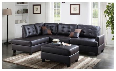 Talin sectional sofa upholstered in faux leather groupon for Sectional sofa groupon
