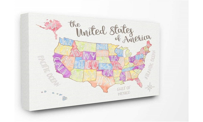 The Kids Room by Stupell USA Map Rectangle Wall Plaque