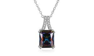 Rectangle Mystic Topaz Curved Crystal Pav'e Necklace By Golden NYC Jewelry