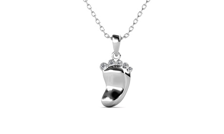 Baby Footprint Pendant Necklace with Swarovski Crystal Toes