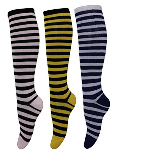 bd822406e4e Assorted 3 Pack Striped Knee High Socks