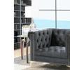 Carlos Velvet Button-Tufted Y-Leg Club Chair