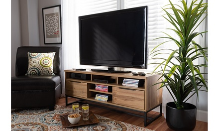 Reid Industrial Oak Finished Wood and Black Metal 2-Drawer TV Stand