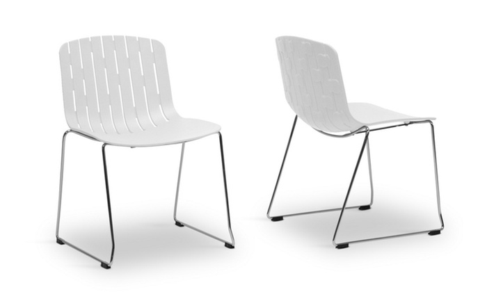 Closeout Ximena White Plastic Modern Dining Chair Set Of 2