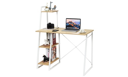 Computer Desk Study Table Workstation w/4 Tier Bookshelves Home Office Natural