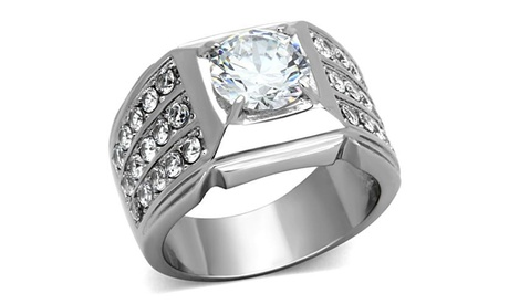 Unisex 2.94 Ct Round Cut Cubic Zirconia Silver Stainless Steel Ring
