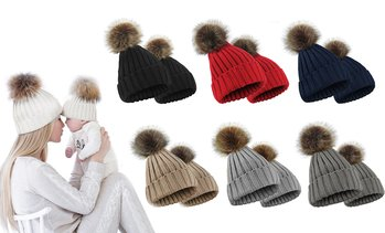 2Pcs Mommy Child Matching Knit Hats Winter Warm Fur Ball Crochet Caps