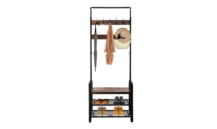 Industrial Coat Rack Shoe Bench Hall Tree Entryway Clothes Storage Shelf