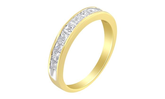 Women S 18k White Gold 1ct Tdw Princess Cut Diamond Band Ring G H