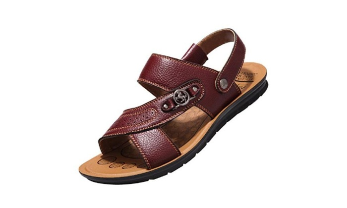 Sandals Shoes For mens Leather shoe - Brown / 9 D(M) US