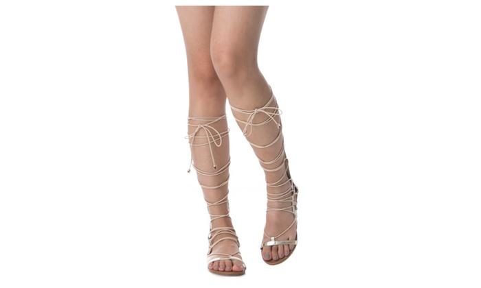 1f6fd43668d7 Women s Knee High Tall Lace Up Roman Gladiator Sandals