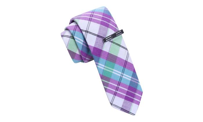 Skinny Tie Madness Purple Plaid Skinny tie with Tie Clip