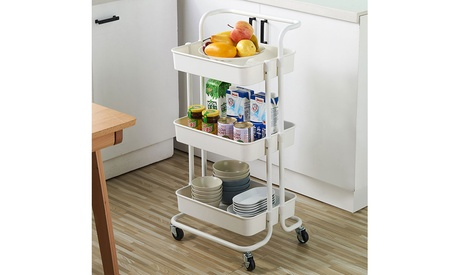 3-Tier Home Kitchen Storage Rolling Utility Cart with Handle and Lockable Wheels