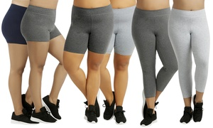 Women's Plus-Size Cotton-Blend Stretchy Shorts or Leggings (3-Pack)