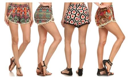 Women's Casual Pompom Tassel Lace Trim Mini Beach Shorts