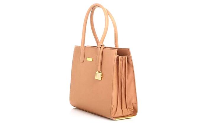 Joy Mangano & Iman Genuine Leather Hollywood Carmel Handbag