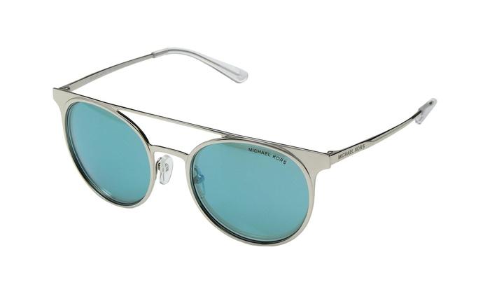755679396d Michael Kors MK1030 113725 Grayton Sunglasses Shiny Silver Teal Mirror Lens  52mm
