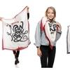 Womens Paris and New York Flag Theme Printed Square Scarf