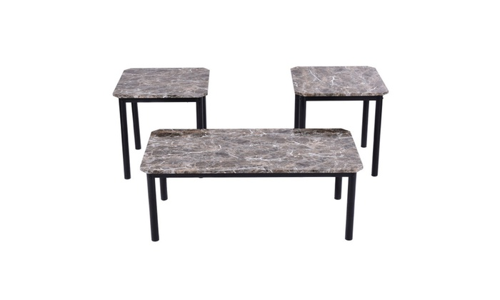 3 Piece Modern Faux Marble Coffee And End Table Set Living Room