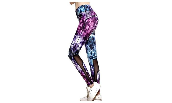 Womens Sporty Printed Slim Athletic Fitness Yoga Leggings Pants