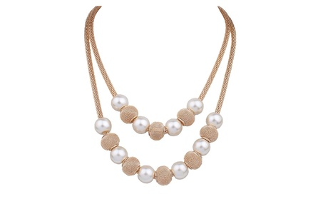 Multi layers Chain Imitation Pearl Ball Pendant Necklace for Women b96f85f8-199f-4d41-8724-8349820144b0