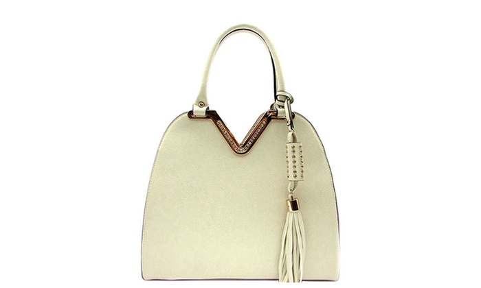 Women's Designer V Accent Top Handle Bag with Tassel BS533 – Off White