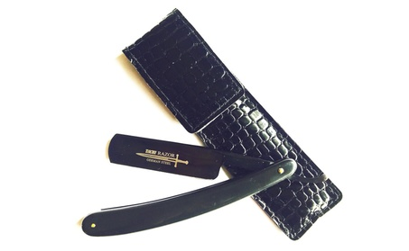 Men's Classic Barber Old Fashion Straight Razor Titanium Coated Black 732015b3-2c8b-4a3b-a8fe-9029c351f12d