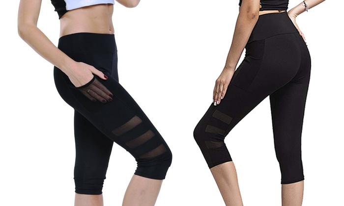 82ba5419953da5 Women High Waist Legging Pants Fitness Yoga Sport Cropped Running Capri  Pocket