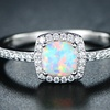 Lab-Created Fire Opal Halo Ring By Peermont