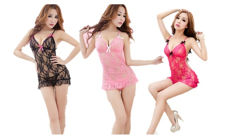 Women Sexy Lingerie Babydoll Bowknot Pajamas Lace Translucent Dress 6a989211-f709-434d-8acb-00f94bae53c3