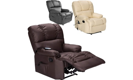Costway Recliner Massage Sofa Chair Deluxe Ergonomic Lounge Couch Heated