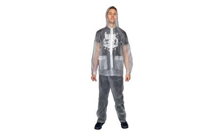 2pc Waterproof Emergency Rain Suit Bottom Jacket Hood For Women Men 3f055500-a67b-4a72-89c3-9a37a1a57345