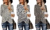Women Cute Shirts Leopard Print Tops Basic Long Sleeve Soft Fashion Twist Tunic
