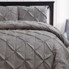 Gray Luxury Oxford 4 Piece Pinch Pleated Comforter Set With Bed Skirt