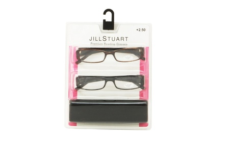 Jill Stuart Womens 2 Pack Plastic Reading Glasses +2.5 Black/Brown JS5 eed69eef-ff2a-49d3-b2d9-60b79358e5c7