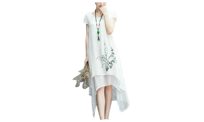 Women's Crew Neck Casual Slim Fit Printed Dress