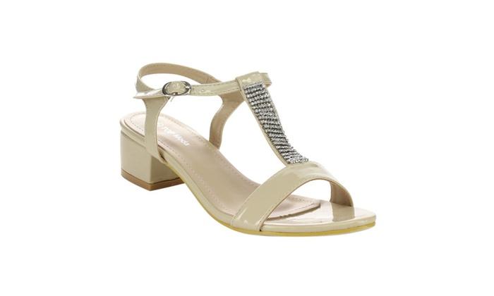Beston CB84 Women's Block Low Heel Crystal T-strap Sling Back Sandals