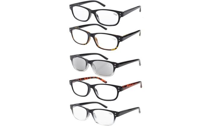 6a2312e91a21 Eyekepper Reading Glasses Spring Hinge 5 pack Includes Sunglasses Women Men