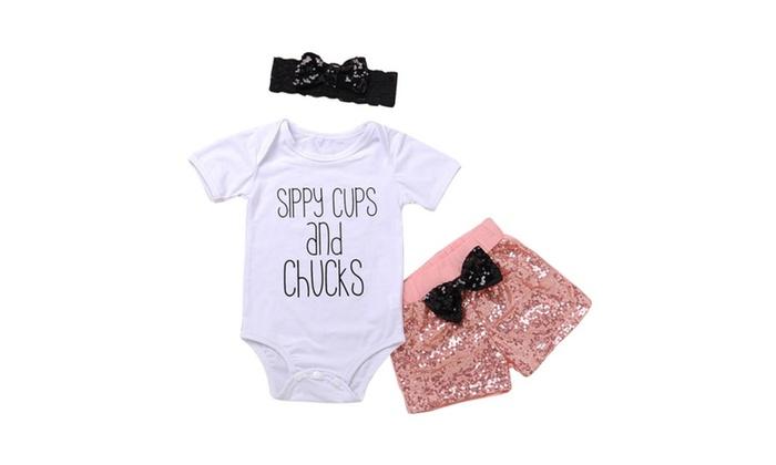 5ce0c1ceaabb Baby s Short Sleeve Romper + Gold Sequins Tassels Shorts + Headband ...
