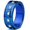 Men's Blue Stainless Steel Zirconia Grooved Ring (8mm Wide)