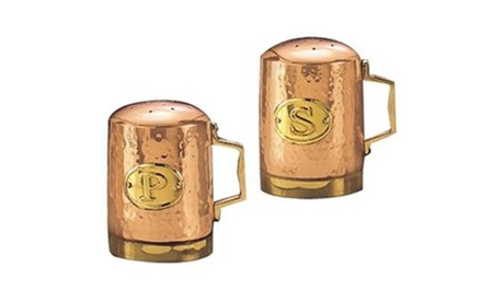 Old Dutch 833 4.25 in. H. Decor Copper Hammered Stovetop Salt & Pepper Set photo