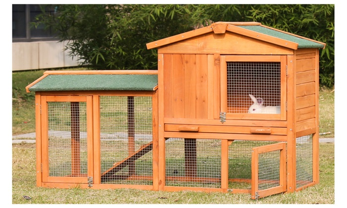 54 Inch Rabbit Hutch Bunny Cage Small Animal House Pet Cage, ...