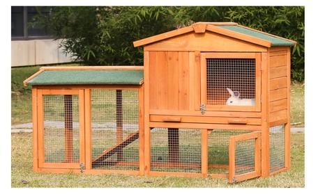 54-Inch Rabbit Hutch Bunny Cage Small Animal House Pet Cage, w/ Ladder 0fa5e022-4fe6-4a41-8559-5b01a8ae928e
