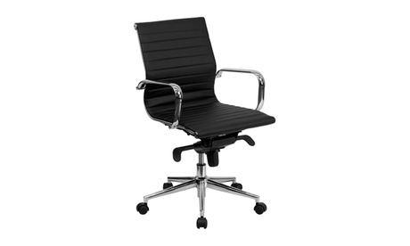 Flash Furniture Mid-Back Black Ribbed Upholstered Leather Conference Chair f187500b-72f5-48df-bb45-0bd6362469bd