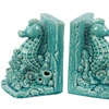 Ceramic Sea Horse on Corals Bookend on Base Gloss Finish Turquoise